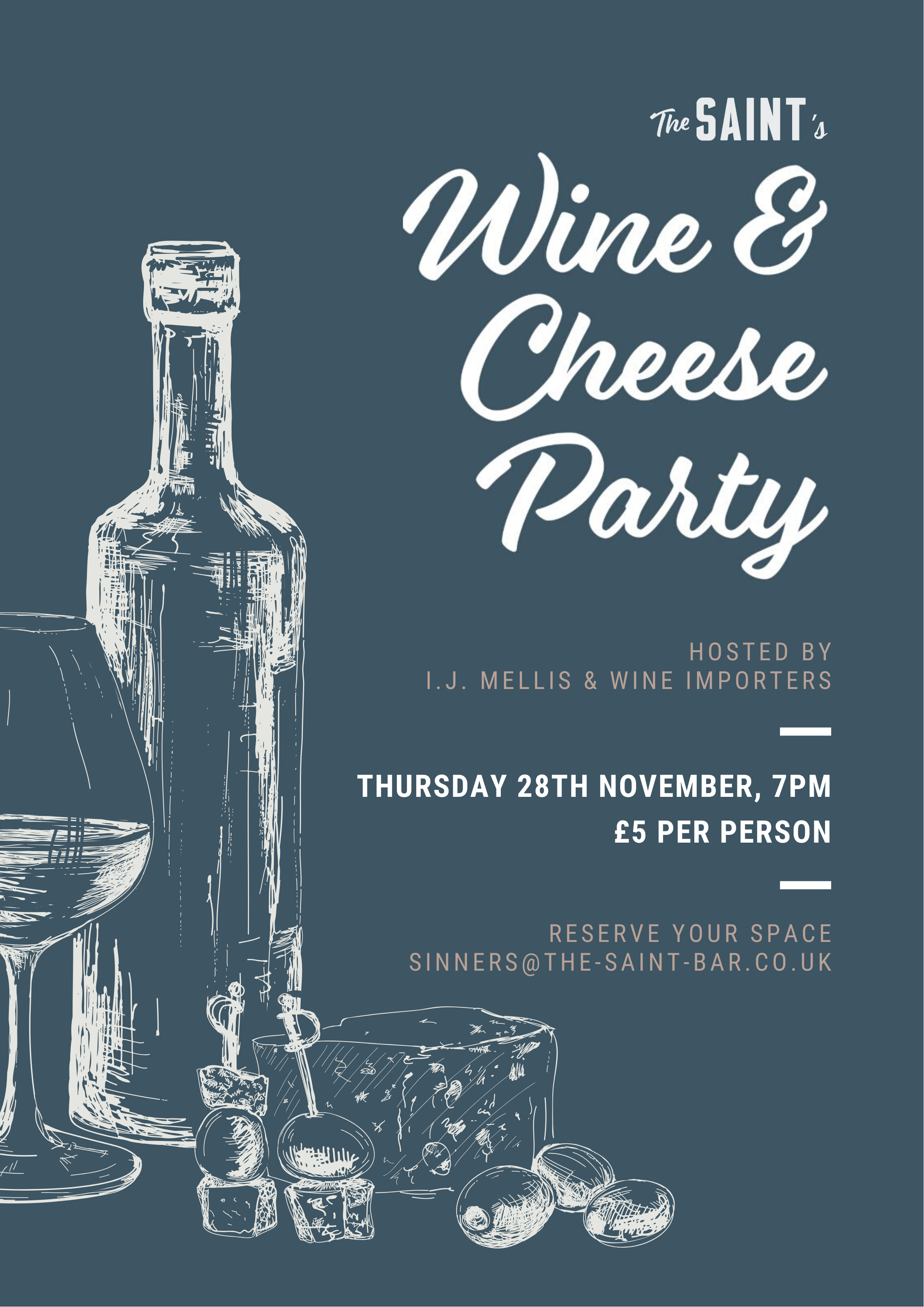 Wine & Cheese Party on 28th November at 7pm